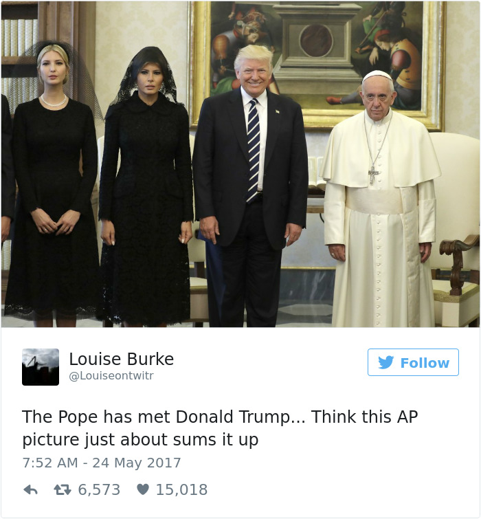donald trump pope francis awkward photo