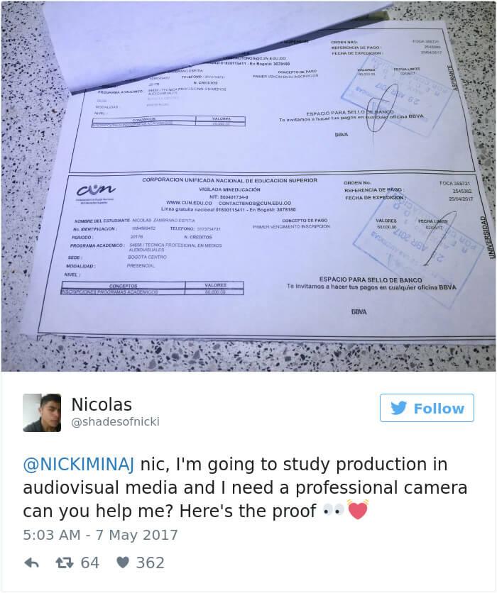 nicki minaj paying college tuition for students 12