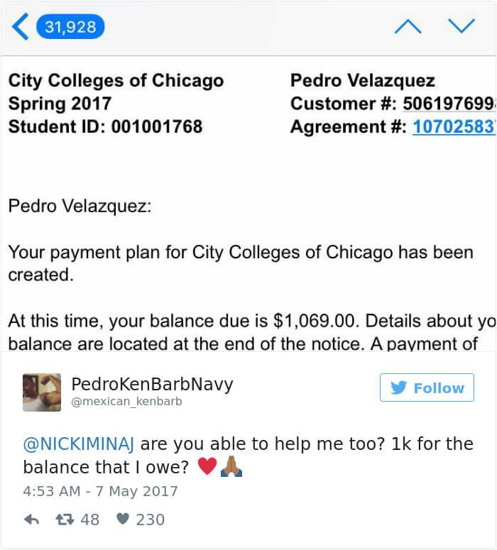 nicki minaj paying college tuition for students 18