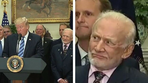 buzz aldrin face when donald trump talks about space feat (1)