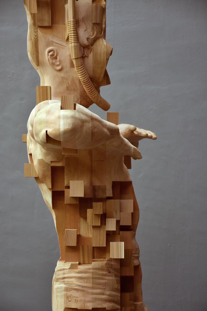Hsu Tung Han pixelated wood sculpture 2 (1)