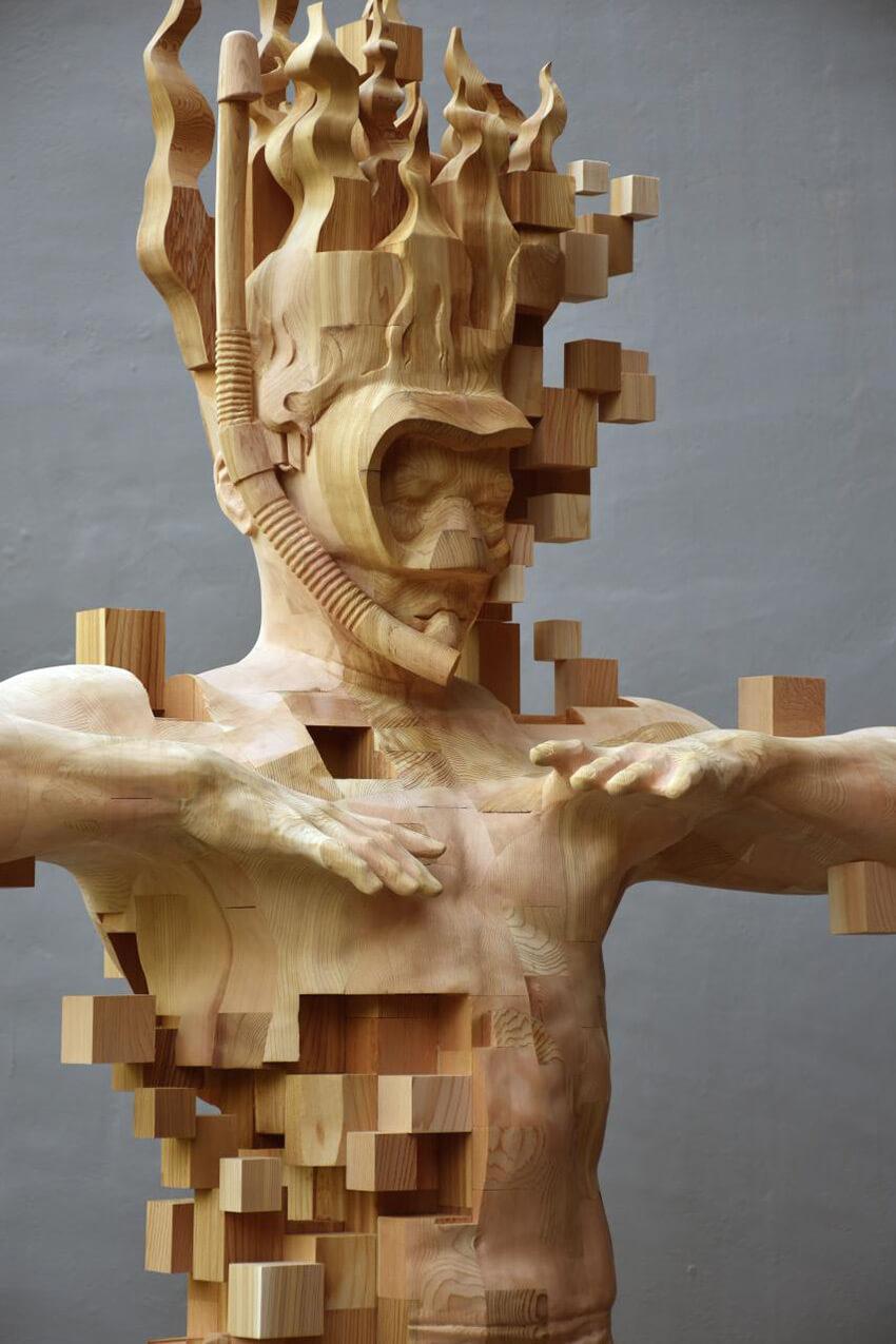 Hsu Tung Han pixelated wood sculpture 3 (1)