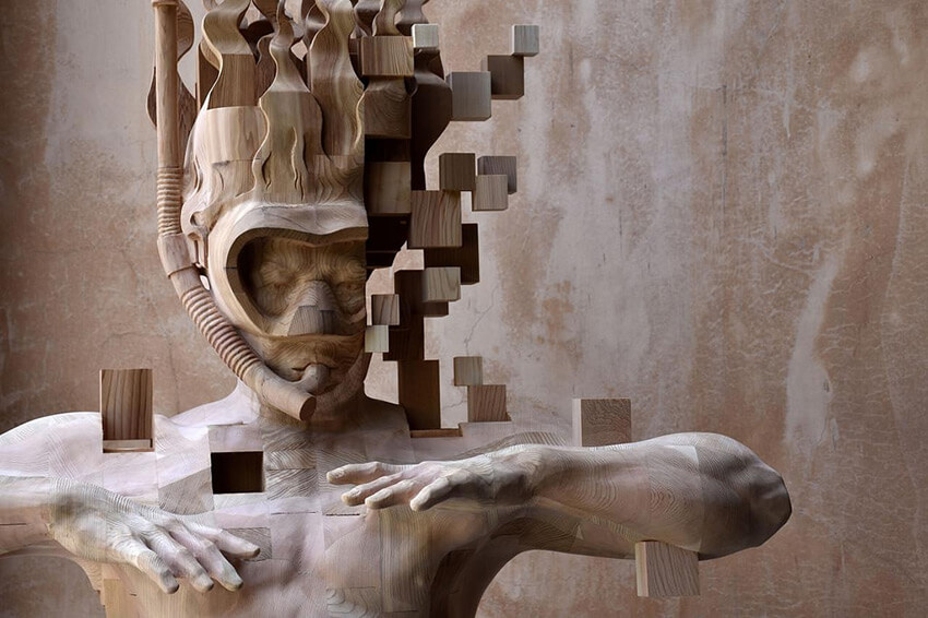 Hsu Tung Han pixelated wood sculpture 4 (1)