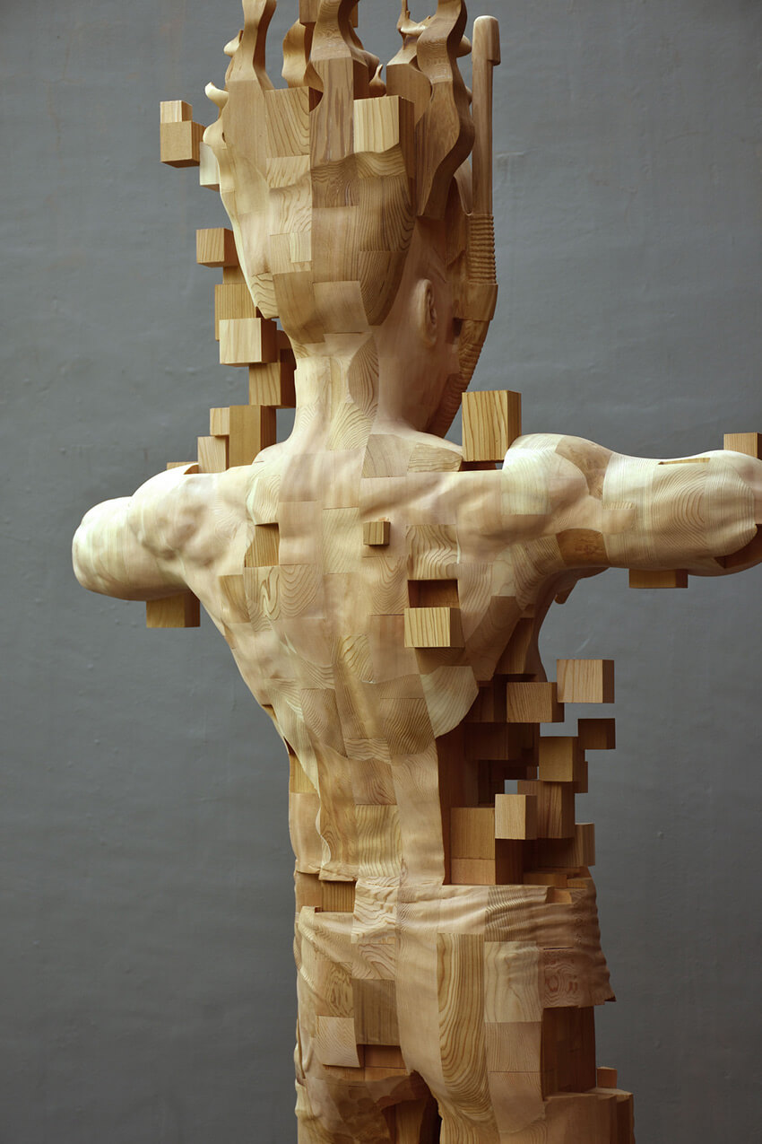 Hsu Tung Han pixelated wood sculpture 5 (1)