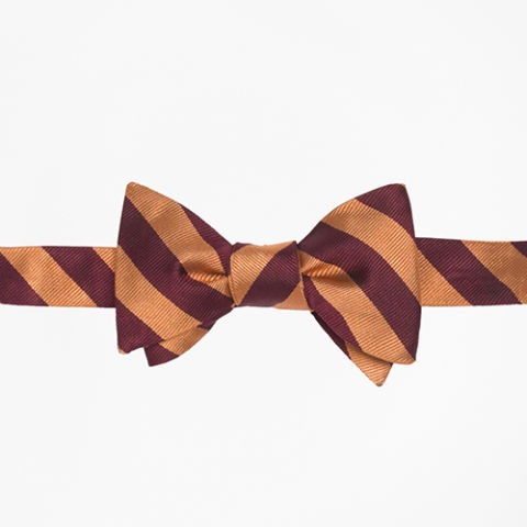 Brooks Brothers Gold and Burgundy Repp Bow Tie