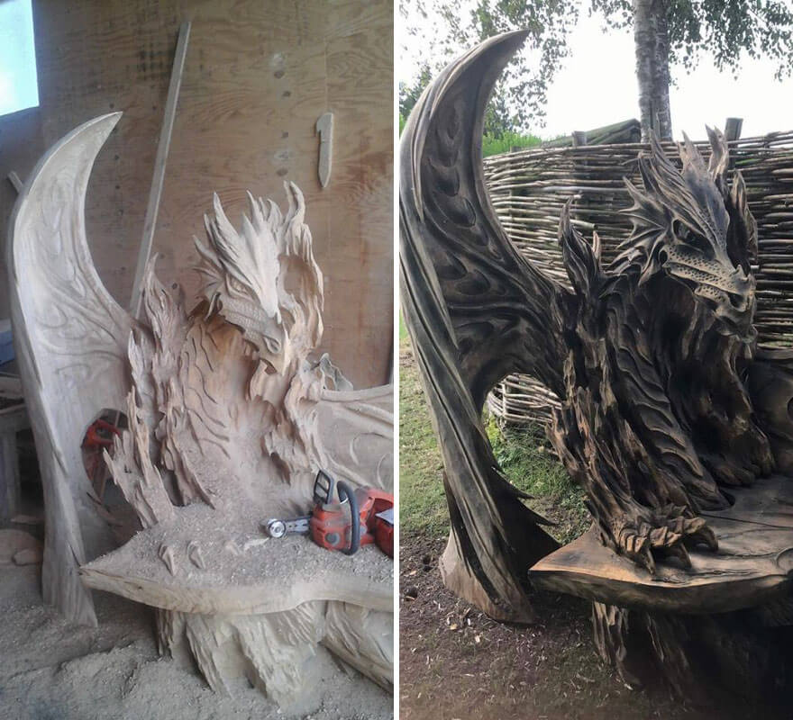 Igor loskutow made this incredible dragon bench using a