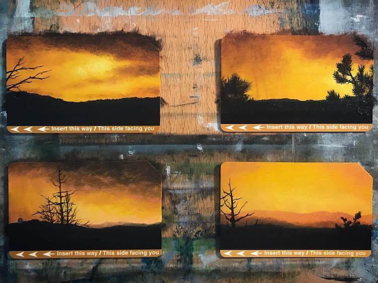 used metro cards miniature paintings 12 (1)