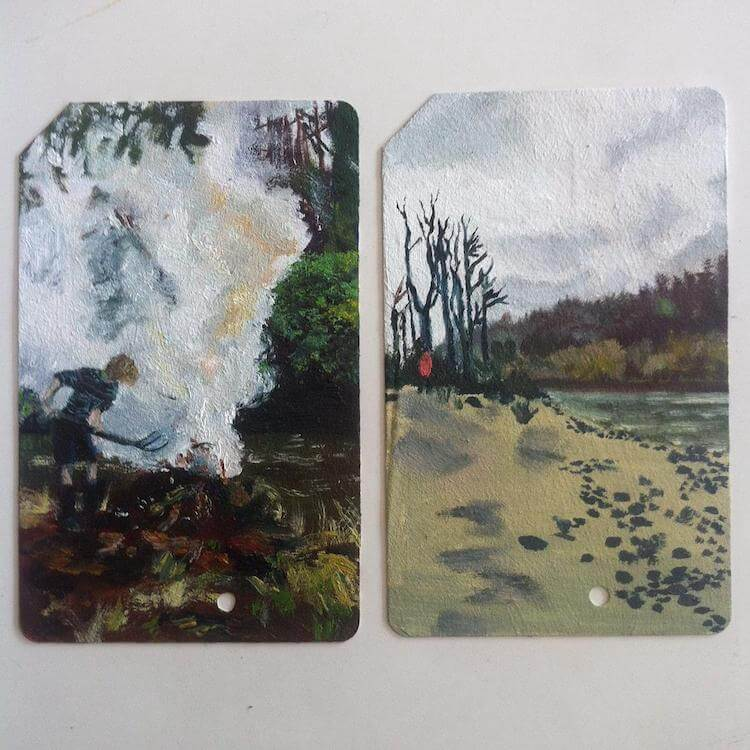 used metro cards miniature paintings 4 (1)