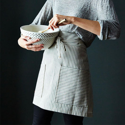 Green Ticking Half Apron for women - aprons for women