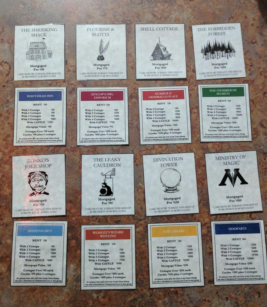 I made a harry potter monopoly game set for best friends birthday harry potter game set 6 1 bookmarktalkfo Choice Image