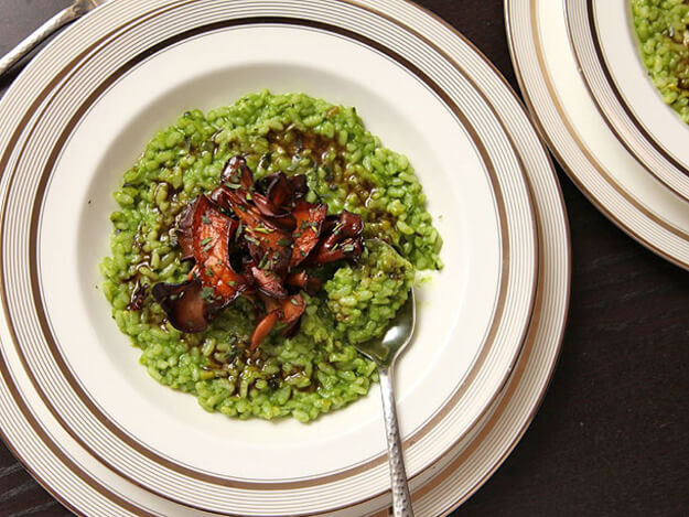 Green Risotto With Mushrooms