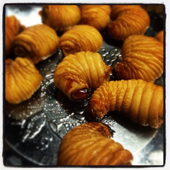 Deep fried Silkworms