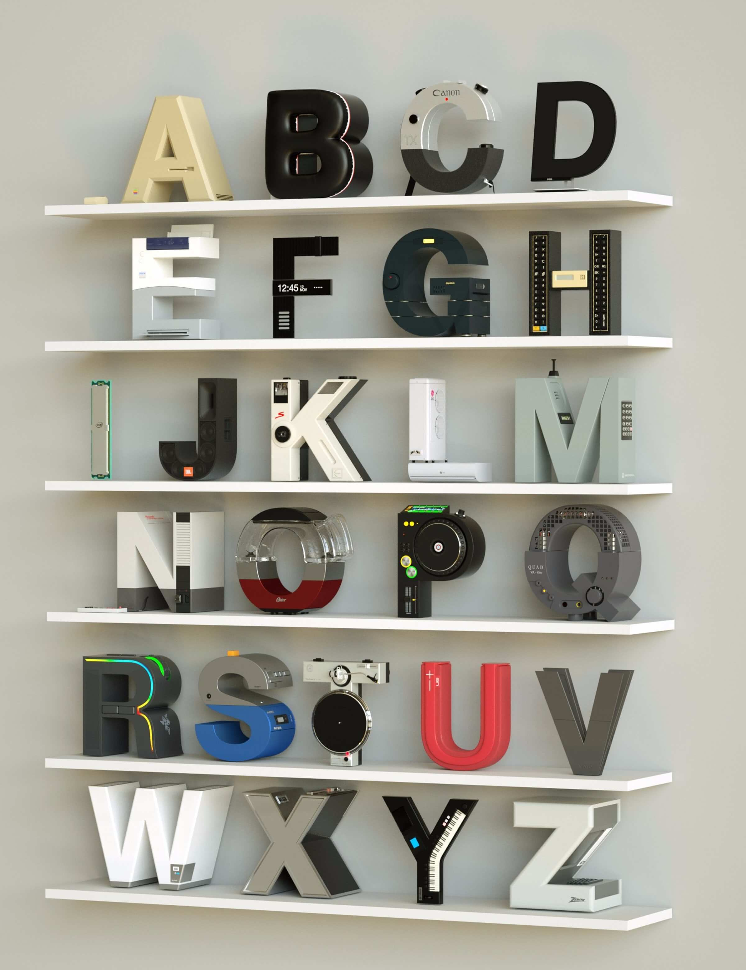 alphabet rendered vintage electronic gadgets 11 (1)