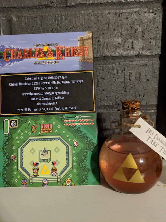 This couple had a zelda themed wedding where guests played games even the wedding invitation was designed similar to the classic zelda game retro graphics stopboris Choice Image