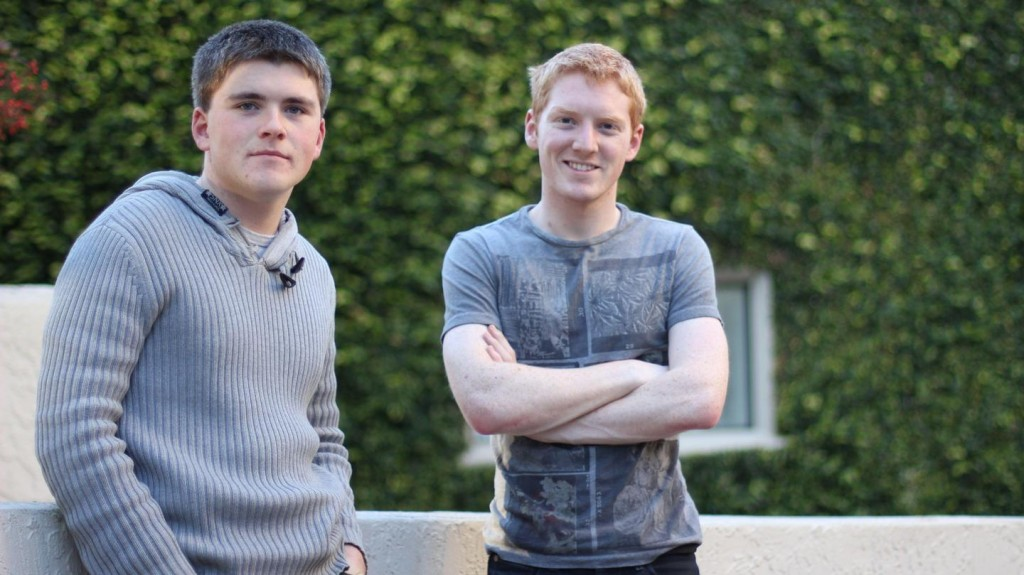 John (left) and Patrick Collison, co-founders of Stripe, outside their offices in Palo Alto, California