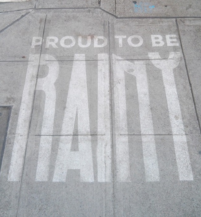 When rain makes art: this is Seattle street art that appears only when it's wet!