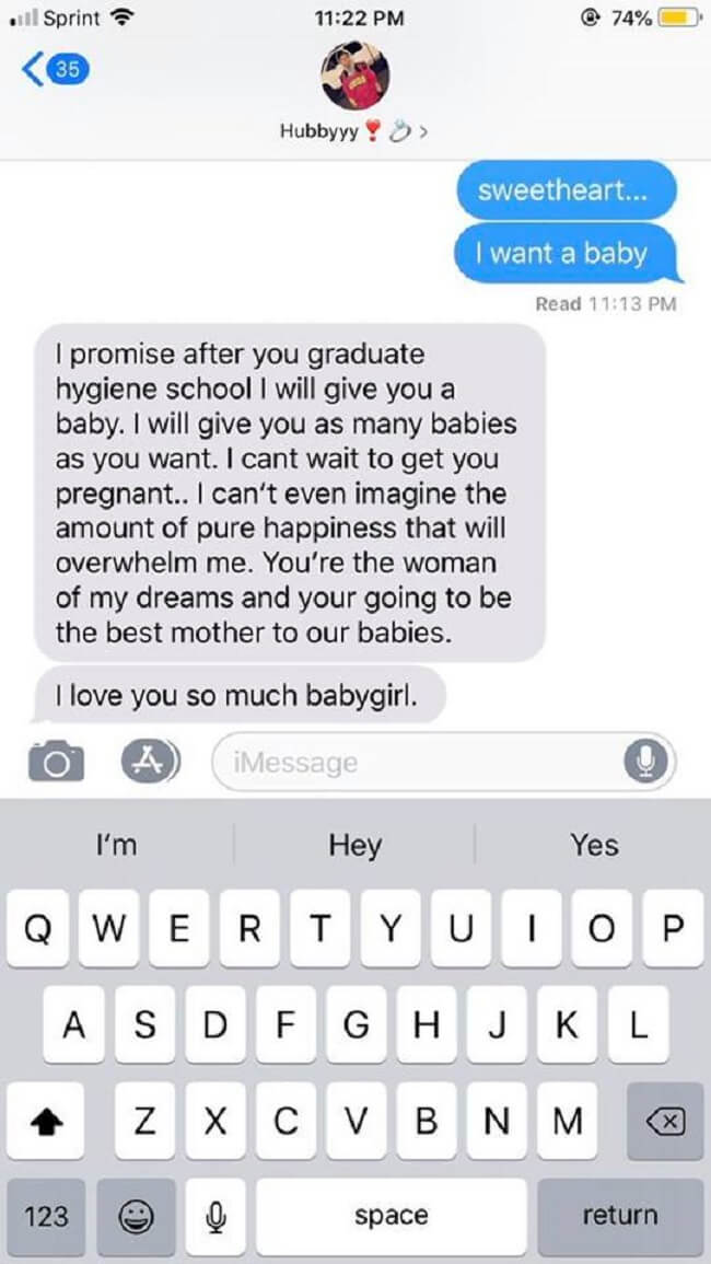 Text Your Boyfriend 'I Want A Baby'