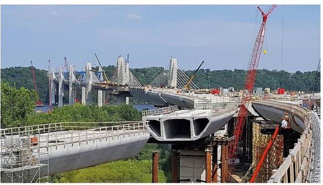 the insides of a concrete bridge