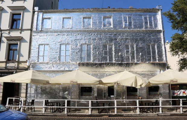 Warsaw building in tin foil