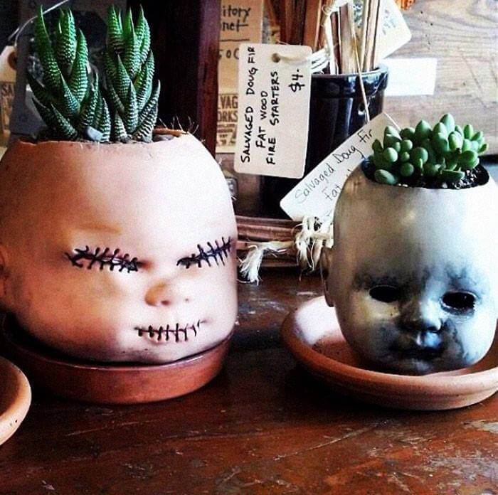 Halloween scary planters