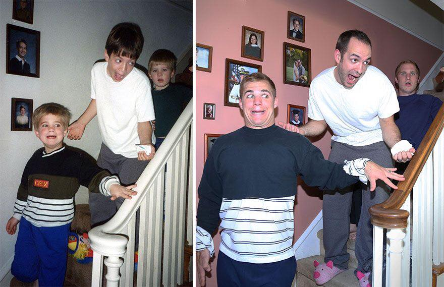brothers gift their mother a remake of their childhood photos 4