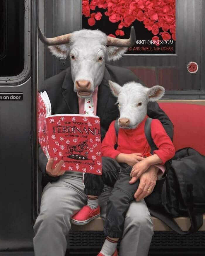 Half-human half-animal on the New York Subway