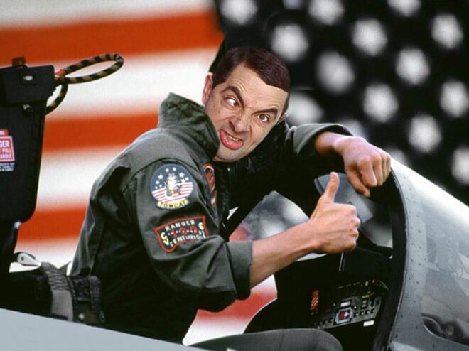 What if Mr Bean played Top Gun