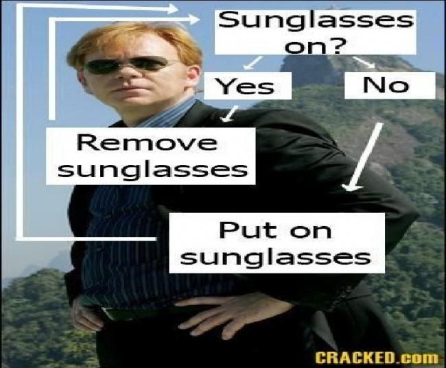 puts on sunglasses