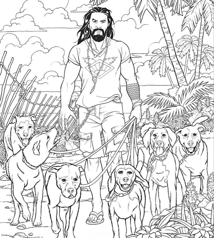 Jason Momoa and puppies
