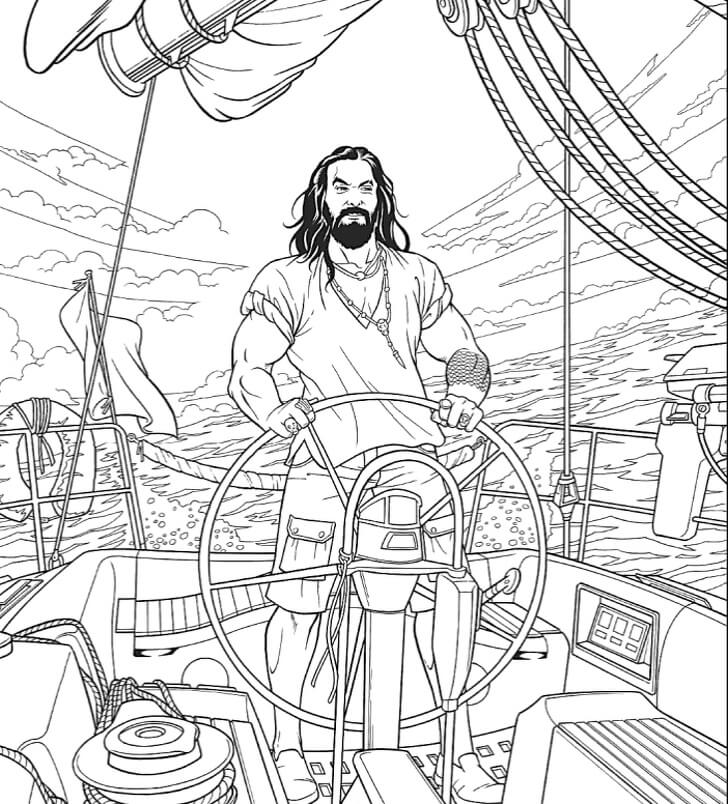 Jason Mamoa sailing colouring book