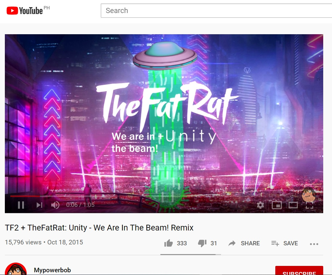 Edited YouTube graphic showing integration of the famous FT2 The Beam in FAt RAt Concert Stage