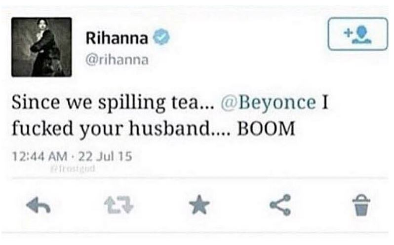 Rihanna deleted tweets