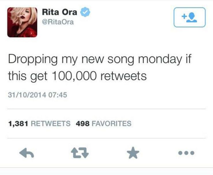 Rita Ora deleted tweet