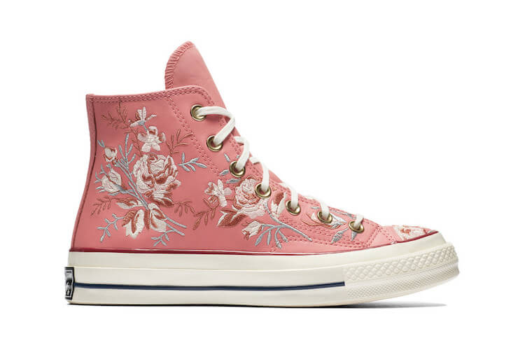 embroidered converse - pink on white flowers