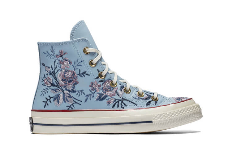 embroidered converse - blue on pink flowers