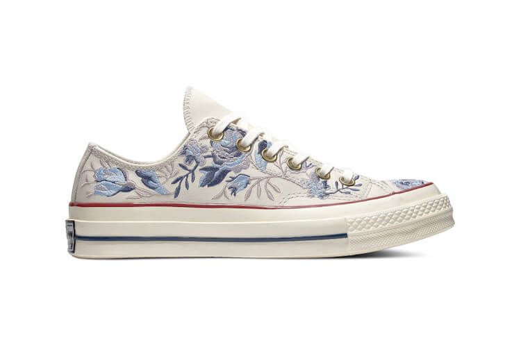 embroidered converse - white on blue flowers