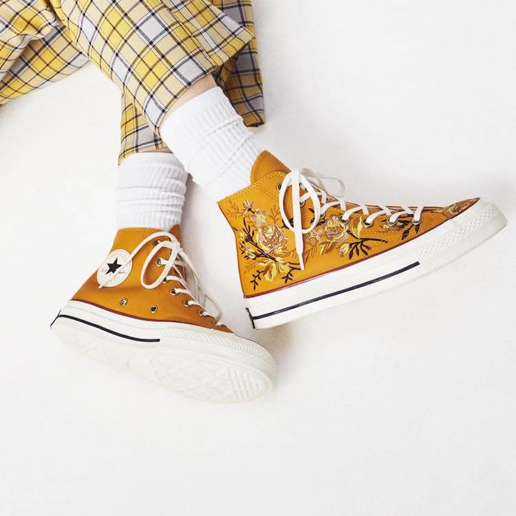 embroidered converse - special yellow