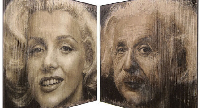 Sergi Cadenas Creates Paintings that have two distinct photos combined together to create a cool illusion