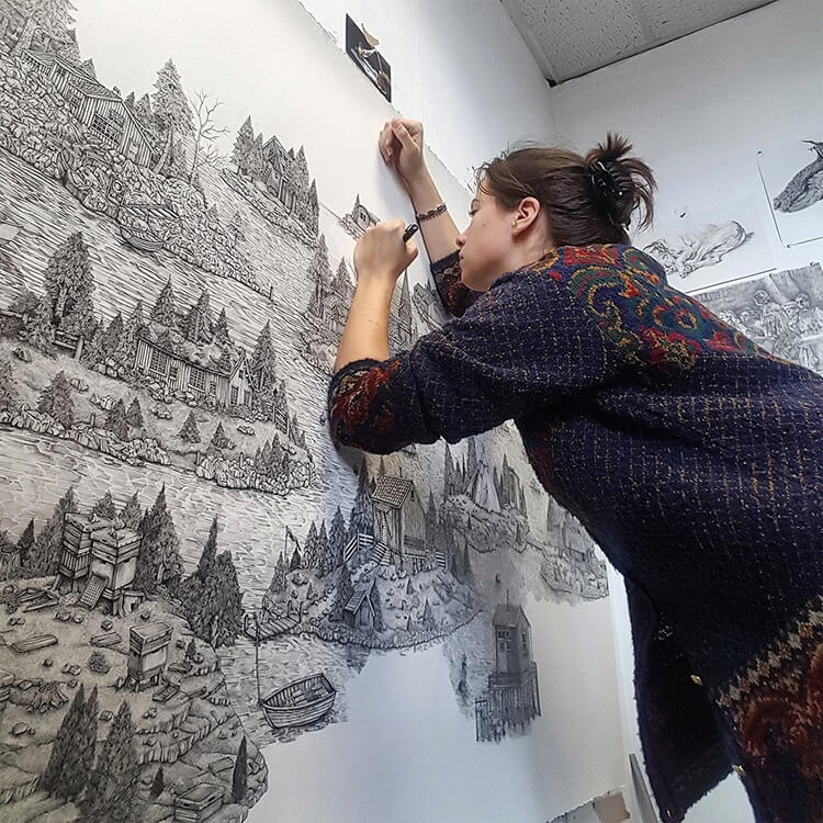 pen and ink landscape drawings